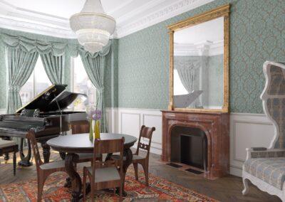 Appartement de style à Paris 7ème - Simulation 3D de la salle a manger coin piano, par Béatrice Elisabeth, Décoratrice UFDI à Neuilly et Paris
