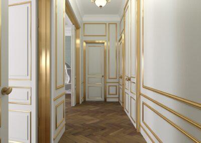 Appartement de style à Paris 7ème - Simulation 3D de l'entrée avec ses dorures, par Béatrice Elisabeth, Décoratrice UFDI à Neuilly et Paris