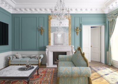 Appartement de style à Paris 7ème - Simulation 3D du Salon, par Béatrice Elisabeth, Décoratrice UFDI à Neuilly et Paris