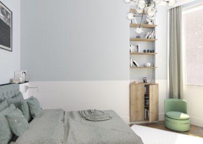 Appartement de style à Paris 7ème - Simulation 3D pour la chambre Invité, par Béatrice Elisabeth, Décoratrice UFDI à Neuilly et Paris
