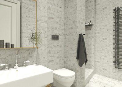 Appartement de style à Paris 7ème - Simulation 3D pour la nouvelle salle de bain attenante à la chambre Invité, par Béatrice Elisabeth, Décoratrice UFDI à Neuilly et Paris