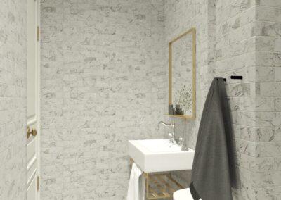 Appartement de style à Paris 7ème - Simulation 3D pour la salle de bain attenante à la chambre Invité, par Béatrice Elisabeth, Décoratrice UFDI à Neuilly et Paris