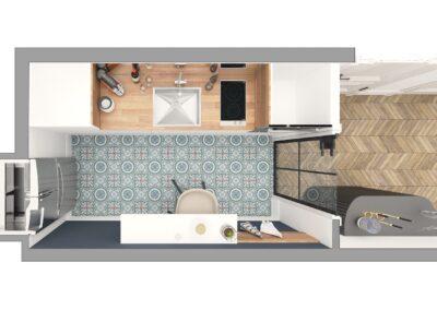 Appartement de style à Paris 7ème - Simulation 3D pour le plan de la cuisine, par Béatrice Elisabeth, Décoratrice UFDI à Neuilly et Paris