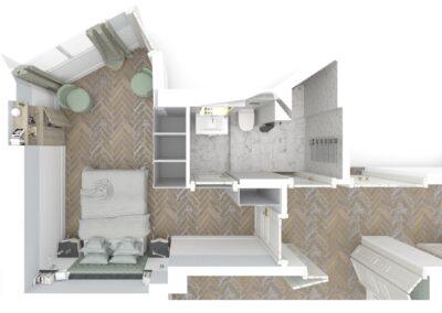 Appartement de style à Paris 7ème - Simulation 3D pour le plan de la salle de bain attenante à la chambre Invité, par Béatrice Elisabeth, Décoratrice UFDI à Neuilly et Paris
