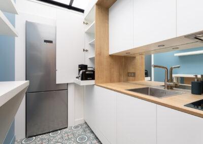 Appartement de style haussmannien à Paris 7ème - La cuisine - Tiroir petit déjeuner, par Béatrice Elisabeth, Décoratrice UFDI à Neuilly et Paris
