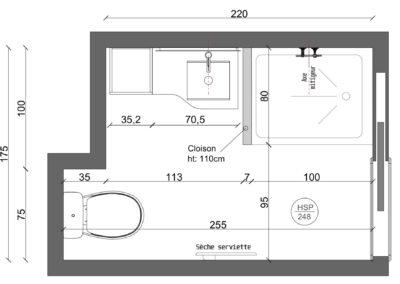 Rénovation d'un appartement à Courbevoie - Plan 2D Salle d'eau Courbevoie, par Béatrice Elisabeth, Décoratrice UFDI à Neuilly et Paris