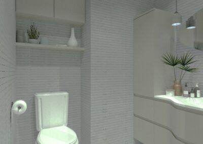 Rénovation d'un appartement à Courbevoie - Simulation 3D - La salle de bain et ses toilettes, par Béatrice Elisabeth, Décoratrice UFDI à Neuilly et Paris