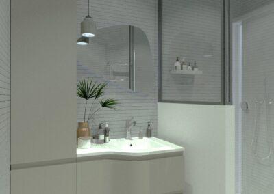 Rénovation d'un appartement à Courbevoie - Simulation 3D - La salle de bain version muret de douche, par Béatrice Elisabeth, Décoratrice UFDI à Neuilly et Paris