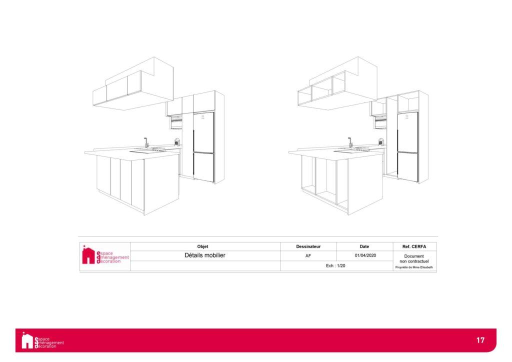 Conception d'un studio à Boulogne - Agencement Cuisine - Facades, par Béatrice Elisabeth, Décoratrice UFDI à Neuilly et Paris