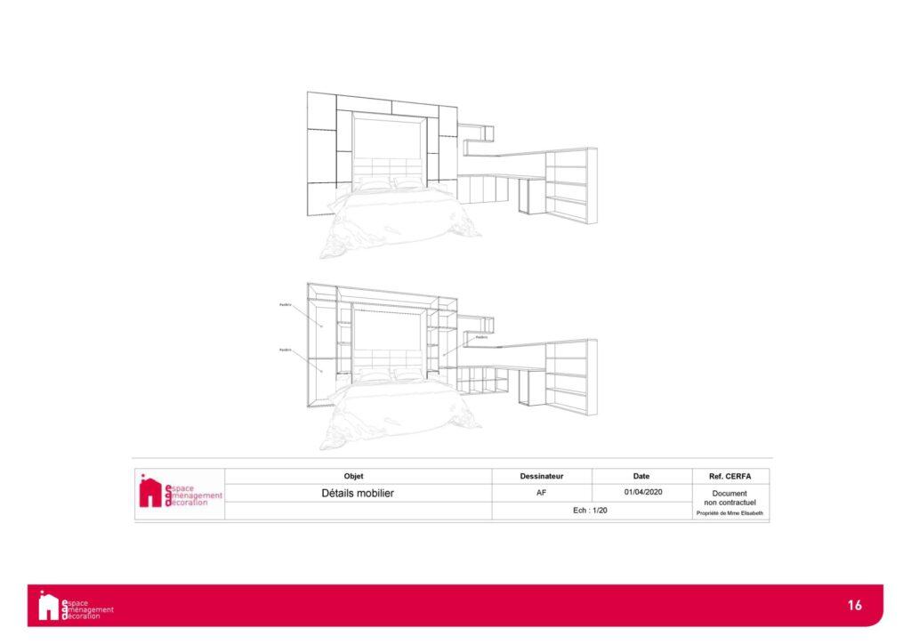 Conception d'un studio à Boulogne - Agencement Lit escamotable, par Béatrice Elisabeth, Décoratrice UFDI à Neuilly et Paris