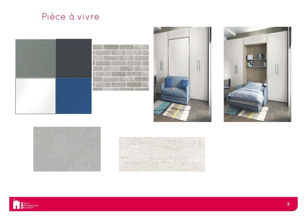 Conception d'un studio à Boulogne - Mobilier et materiaux Chambre, par Béatrice Elisabeth, Décoratrice UFDI à Neuilly et Paris