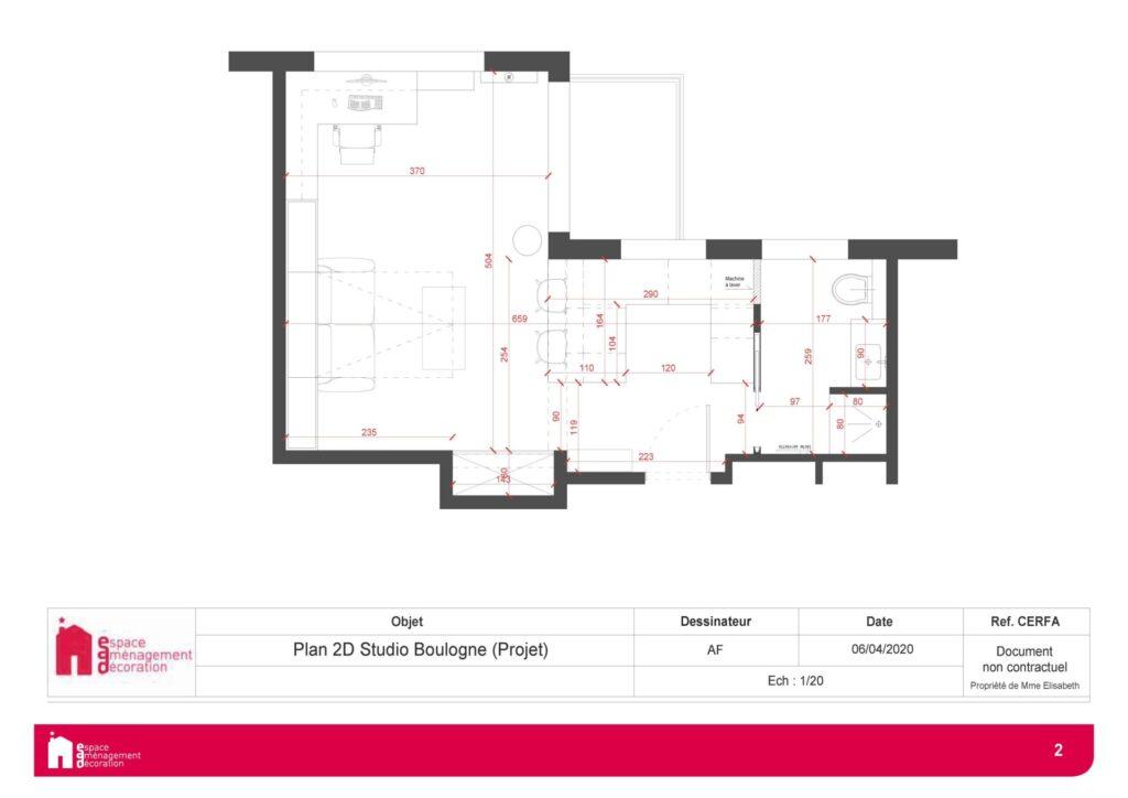 Conception d'un studio à Boulogne - Plan du studio réaménagé, par Béatrice Elisabeth, Décoratrice UFDI à Neuilly et Paris