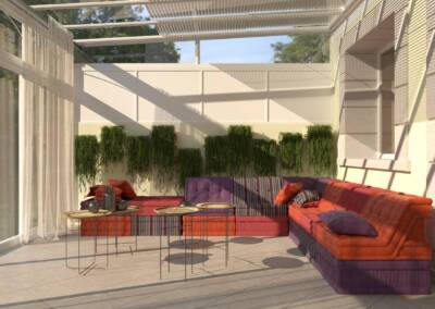 Décoration d'une véranda pour un hôtel particulier à Neuilly sur Seine - Vue du salon et des velums., par Béatrice Elisabeth, Architecte d'intérieur UFDI à Neuilly et Paris