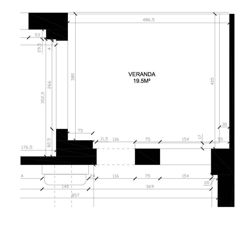 Plans de la véranda, par Béatrice Elisabeth, Décoratrice UFDI à Neuilly et Paris
