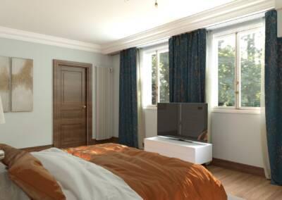Projet d'un hôtel particulier à Neuilly sur Seine - Chambre d'un garçon avec vue sur les fenêtres, par Béatrice Elisabeth, Architecte d'intérieur UFDI à Neuilly et Paris