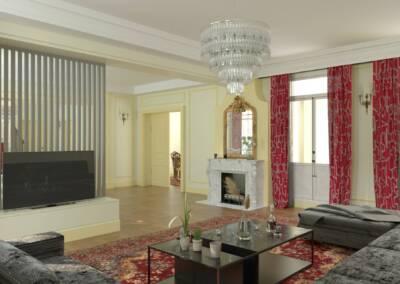 Projet d'un hôtel particulier à Neuilly sur Seine - Le grand salon et le claustra de séparation 2, par Béatrice Elisabeth, Décoratrice UFDI à Neuilly et Paris