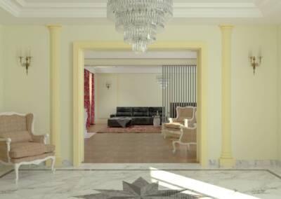 Projet d'un hôtel particulier à Neuilly sur Seine - L'entrée vers le salon, par Béatrice Elisabeth, Architecte d'intérieur UFDI à Neuilly et Paris