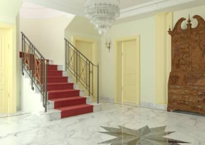 Projet d'un hôtel particulier à Neuilly sur Seine - L'entrée vers l'escalier, par Béatrice Elisabeth, Architecte d'intérieur UFDI à Neuilly et Paris