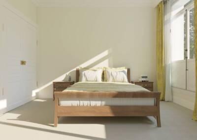 Projet d'un hôtel particulier à Neuilly sur Seine - Une chambre au lit en bois naturel, par Béatrice Elisabeth, Décoratrice UFDI à Neuilly et Paris