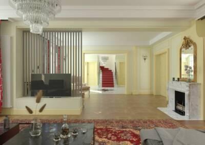Projet d'un hôtel particulier à Neuilly sur Seine - Vue du salon vers le hall d'entrée 2, par Béatrice Elisabeth, Décoratrice UFDI à Neuilly et Paris
