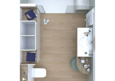 Conception d'une salle de bain en Allemagne - Le plan en 3D couleurs, par Béatrice Elisabeth, Architecte d'intérieur à Neuilly sur Seine 92
