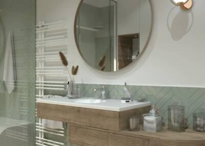Conception d'une salle de bain en Allemagne - Le plan vasque tout en longueur avec un grand miroir rond, par Béatrice Elisabeth, Architecte d'intérieur à Neuilly sur Seine 92