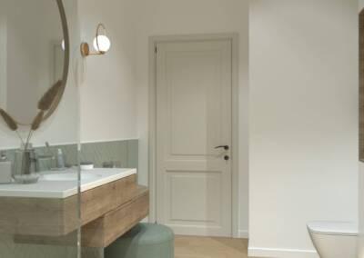 Conception d'une salle de bain en Allemagne - L'entrée avec le prolongement du carrelage, par Béatrice Elisabeth, Architecte d'intérieur à Neuilly sur Seine 92