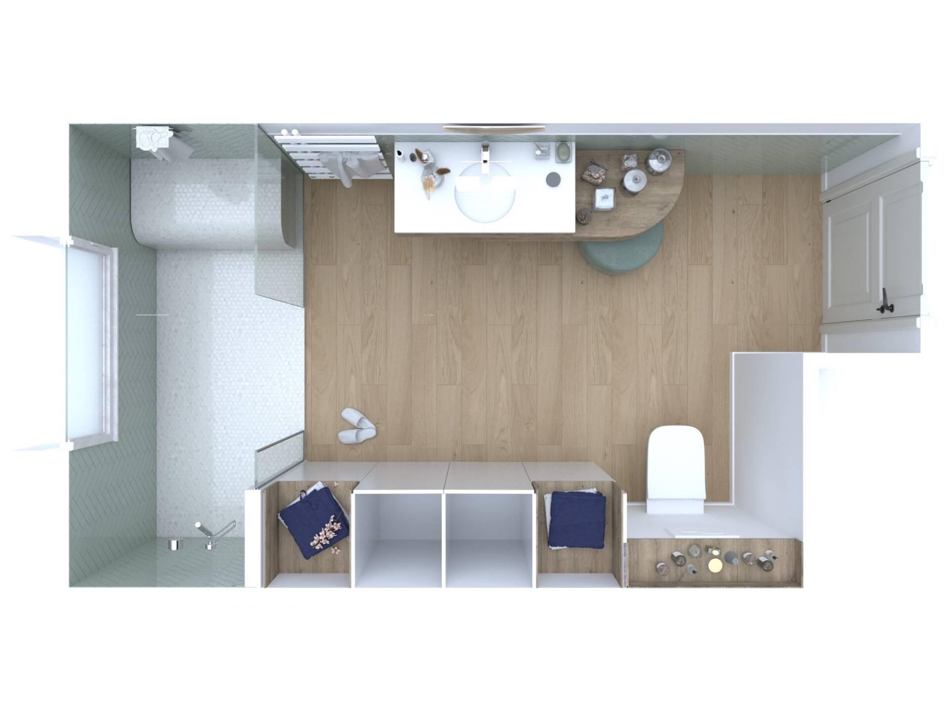 Conception d'une salle de bains en Allemagne, par Béatrice Elisabeth, Décoratrice UFDI à Neuilly et Paris