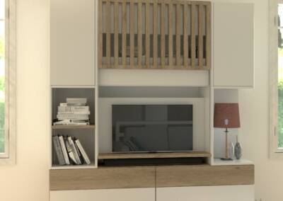 Conception 3D d'un meuble TV, par Béatrice Elisabeth, Architecte d'intérieur à Neuilly sur Seine 92, par Béatrice Elisabeth, Architecte d'intérieur UFDI à Neuilly et Paris