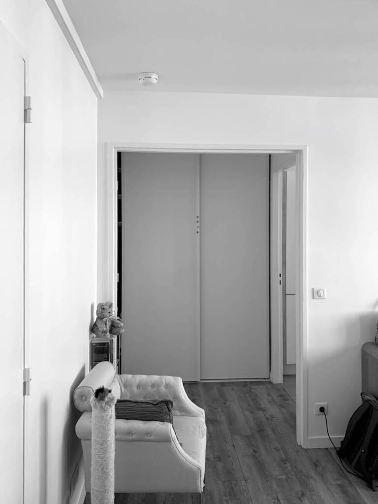 Conception d'un agencement sur mesure à Asnières sur seine - L'entrée du salon avant les travaux
