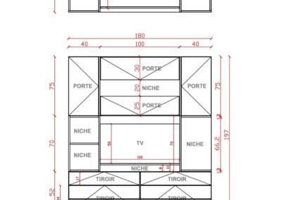 Conception d'un meuble TV sur mesure - Plan 2D et dimensions, par Béatrice Elisabeth, Architecte d'intérieur UFDI à Neuilly et Paris