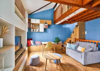 Conception d'un meuble TV sur mesure - le détail du meuble en perspective, par Béatrice Elisabeth, Architecte d'intérieur UFDI à Neuilly et Paris