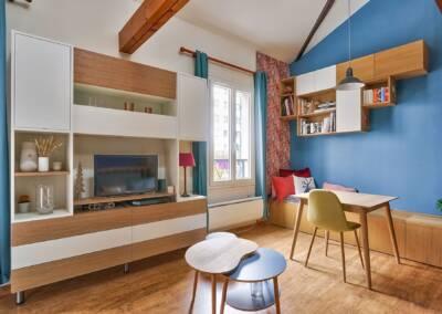 Conception d'un meuble TV sur mesure - le détail du meuble et son installation, par Béatrice Elisabeth, Architecte d'intérieur UFDI à Neuilly et Paris