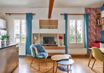 Conception d'un meuble TV sur mesure - vue de face du meuble multimédia, par Béatrice Elisabeth, Architecte d'intérieur UFDI à Neuilly et Paris