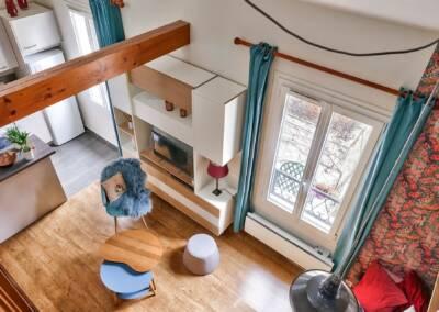 Décoration et réagencement d'un appartement à suresnes - Vue plongeante de la mezzanine, par Béatrice Elisabeth, Architecte d'intérieur UFDI à Neuilly et Paris