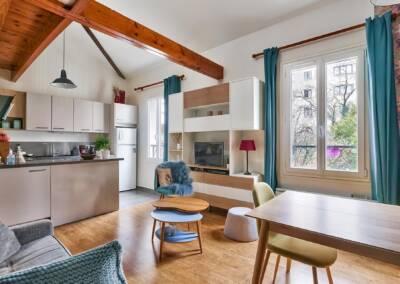 Décoration et réagencement d'un appartement à suresnes - perspective vers la cuisine, par Béatrice Elisabeth, Architecte d'intérieur UFDI à Neuilly et Paris
