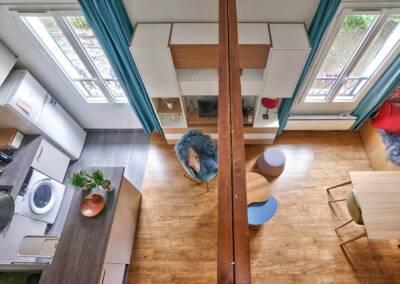 Décoration et réagencement d'un appartement à suresnes - vue de la poutre maitresse, par Béatrice Elisabeth, Architecte d'intérieur UFDI à Neuilly et Paris