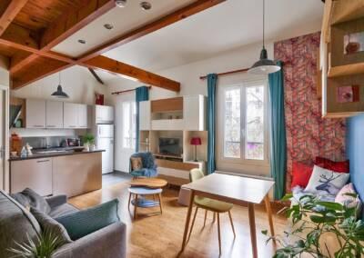 Décoration et réagencement d'un appartement à suresnes - vue générale à la descente, par Béatrice Elisabeth, Architecte d'intérieur UFDI à Neuilly et Paris